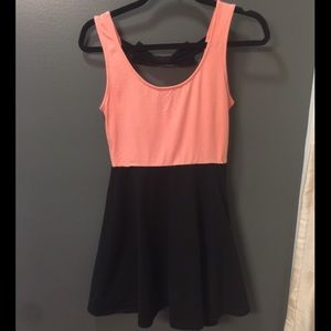 Peach/black skater dress with bow back